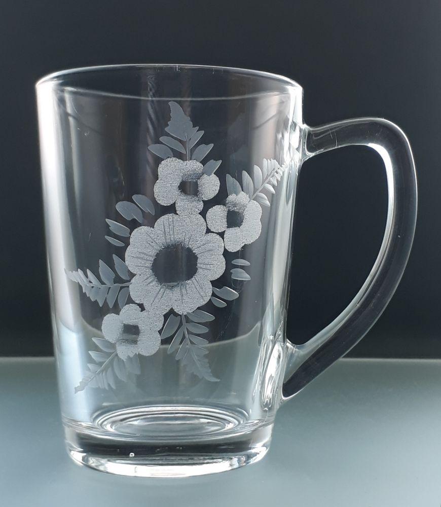hrníček na čaj nebo kávu 6 ks s rytinou květin, dárek k narozeninám