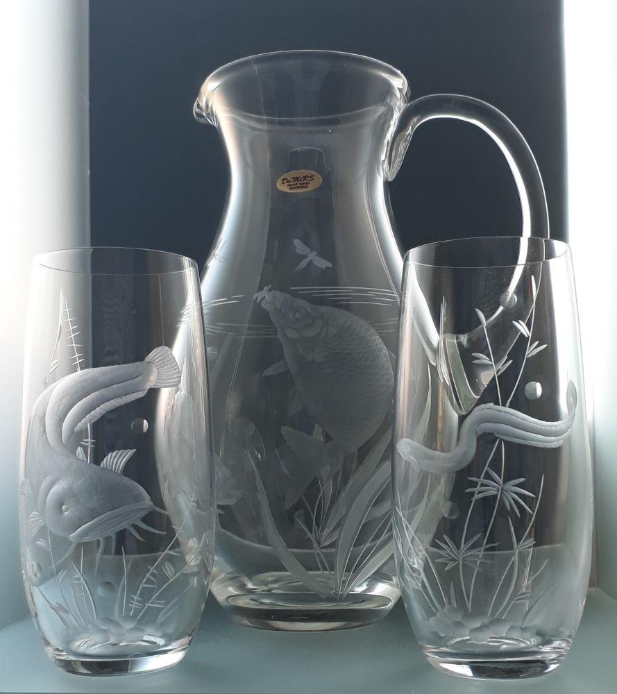 džbán 1,5l + sklenice 2 ks Club 350ml na pivo,ručně broušené, motiv ryb, dárek pro rybáře