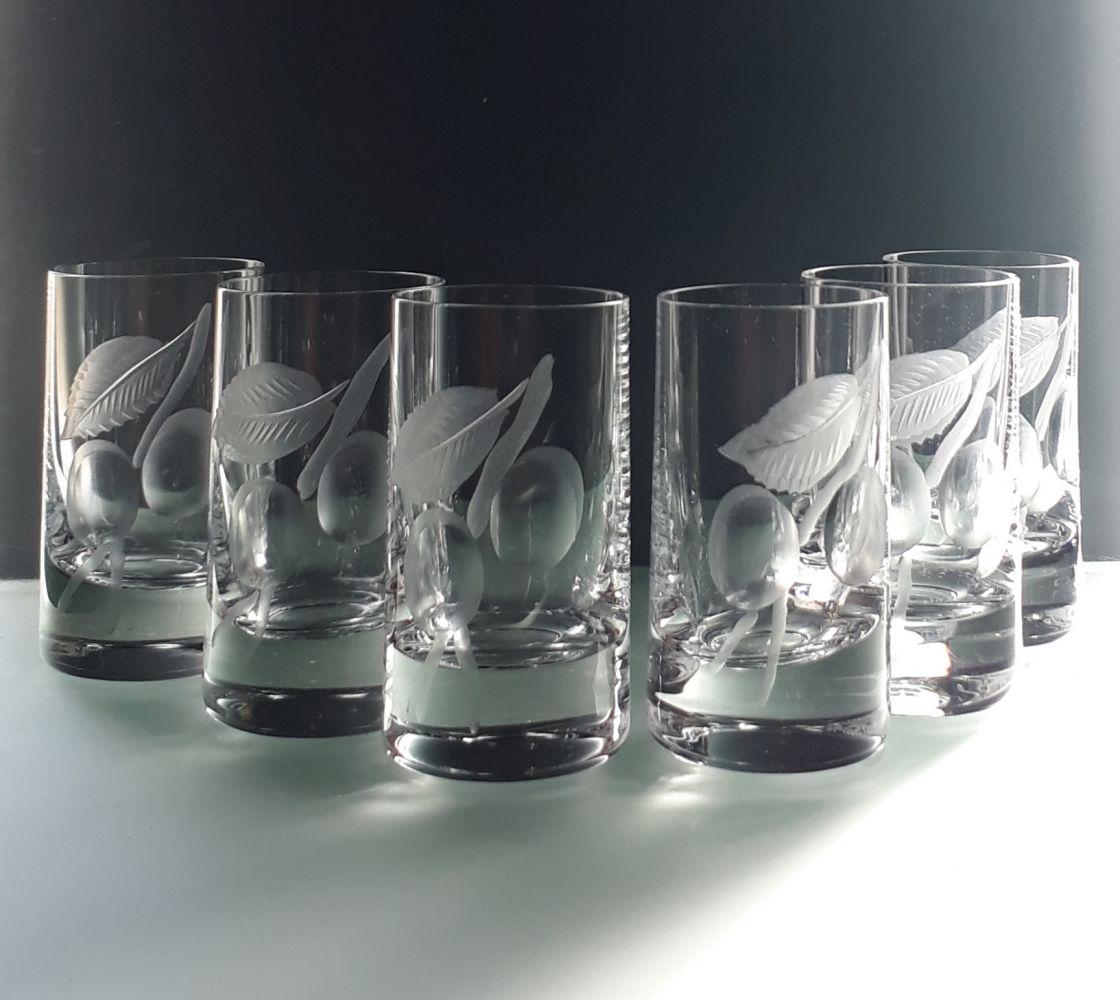 skleničky na meruňkovici 6ks sklenice 35ml s rytinou meruněk, dárek pro muže