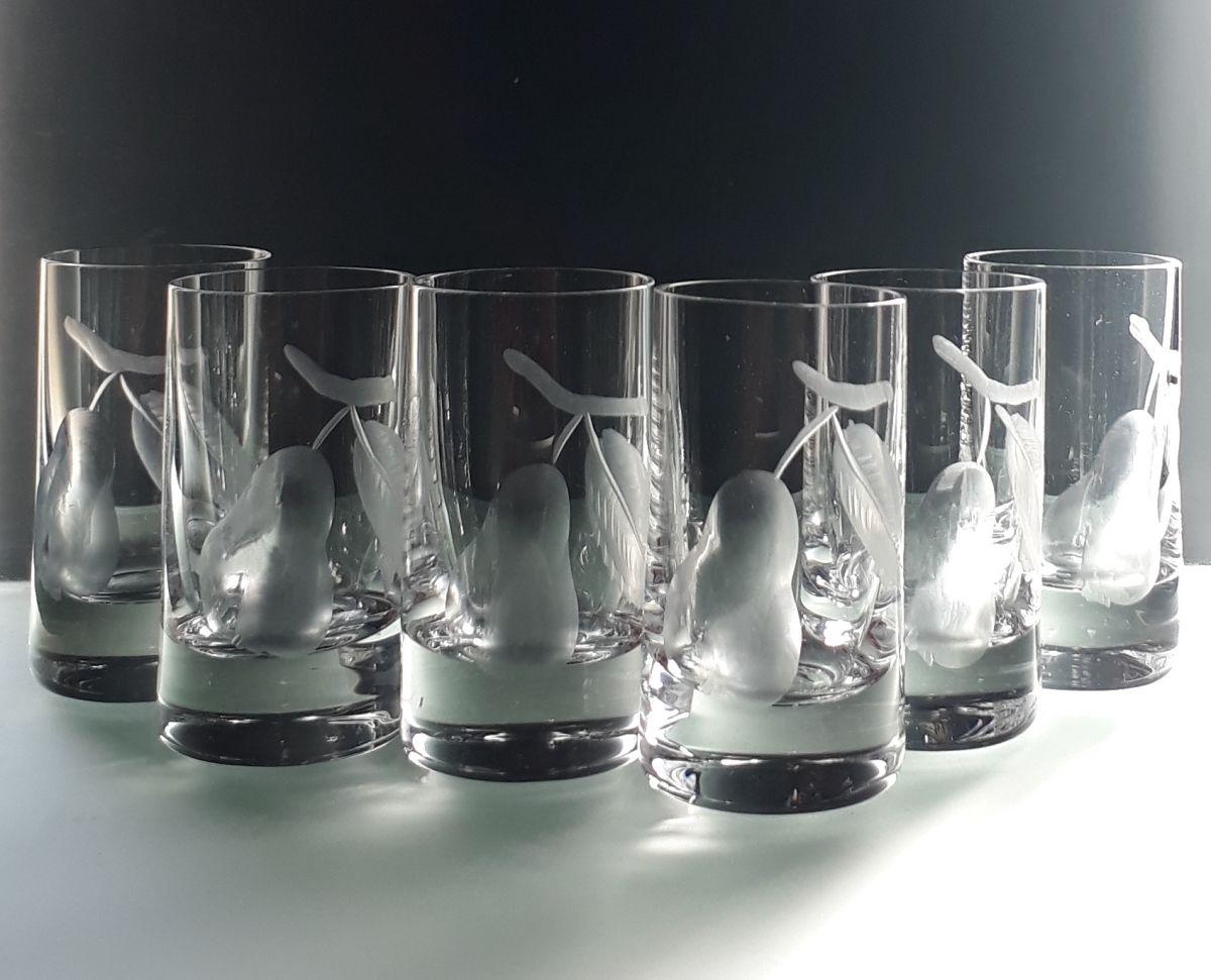 skleničky na hruškovici 6ks Barline 35ml,sklenice s rytinou hrušky, dárek pro muže
