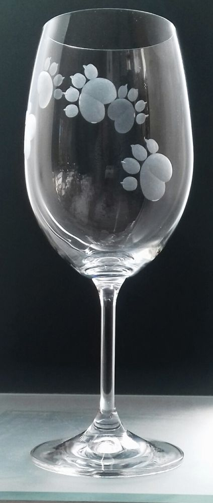 sklenice na víno 1ks Lara 350ml s rytinou psích pacek