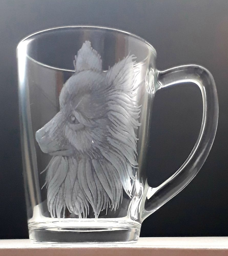 hrnek skleněný na čaj 250ml s rytinou pejska, dárek pro milovníka psů