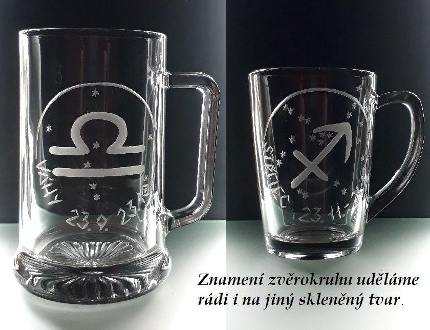Dárková sklenice na víno. Znamení zvěrokruhu. Vodnář 21.1.-20.2.