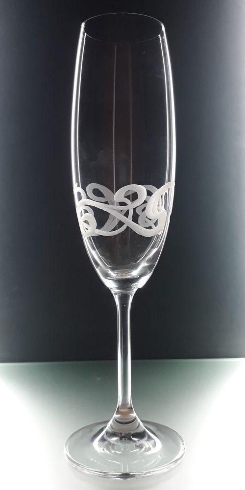skleničky na šampus 6ks Lara 220ml secesním dekorem, luxusní dárek pro muže i ženu