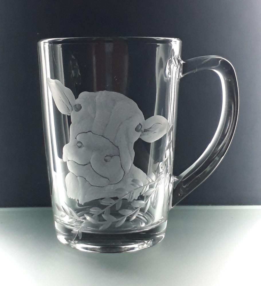 hrnek skleněný na čaj 250ml s rytinou kravičky, dárek pro farmáře