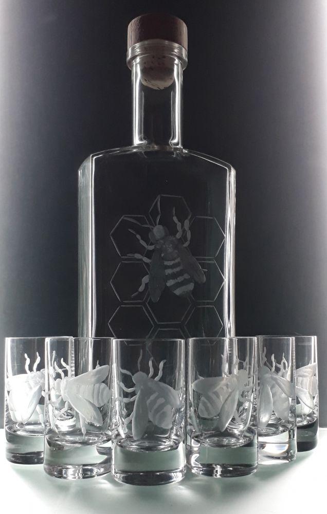 lahev 0,5l a 6ks sklenek na medovinu s rytinou včely
