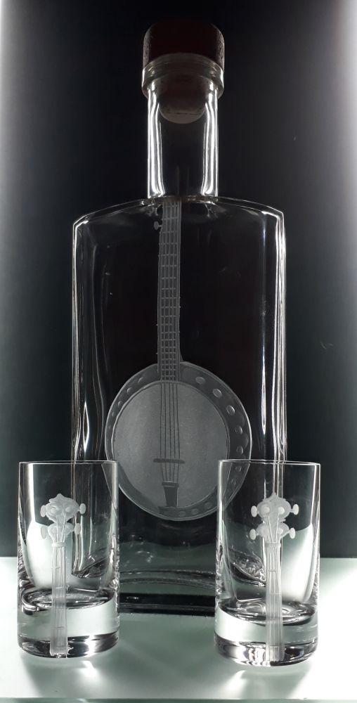 lahev na kořalku 0,5l s rytinou Banjo +6ks likér , možnost jména na přání