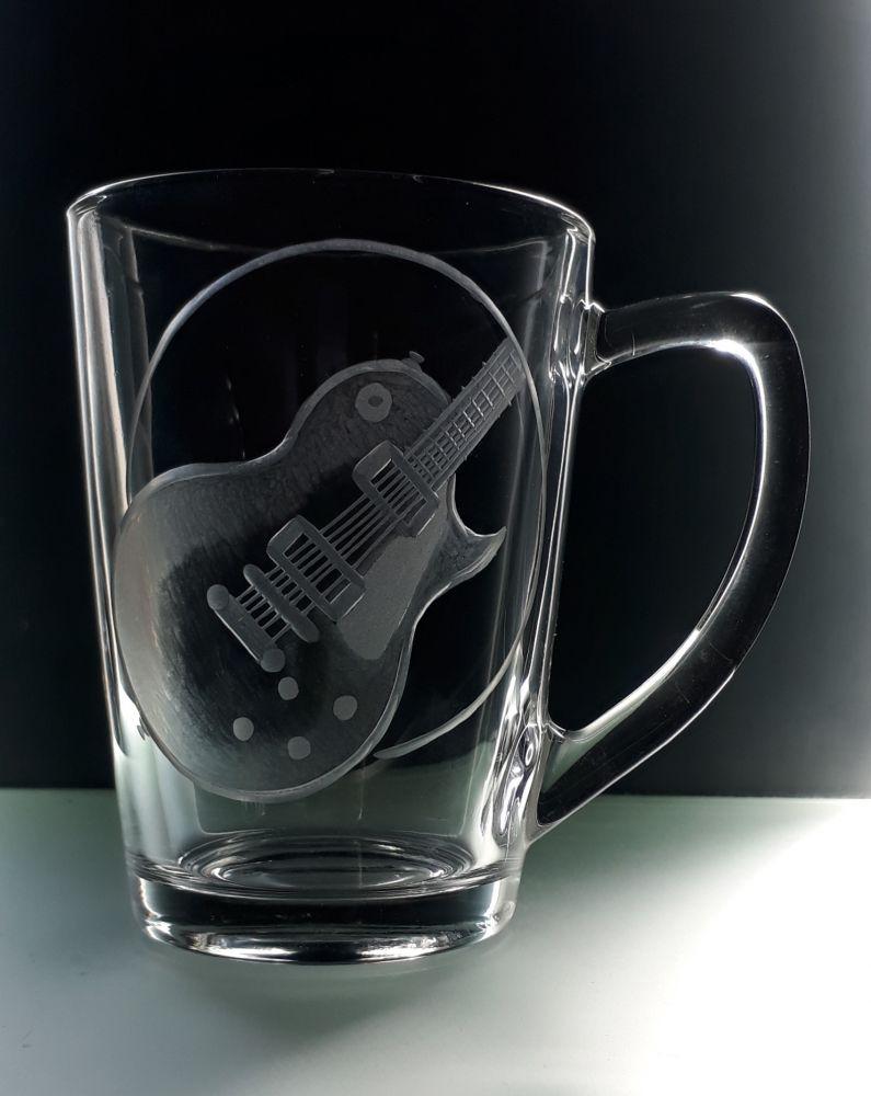 hrnek skleněný na čaj 250ml s elektrickou kytarou Les Paul , dárek pro muzikanty