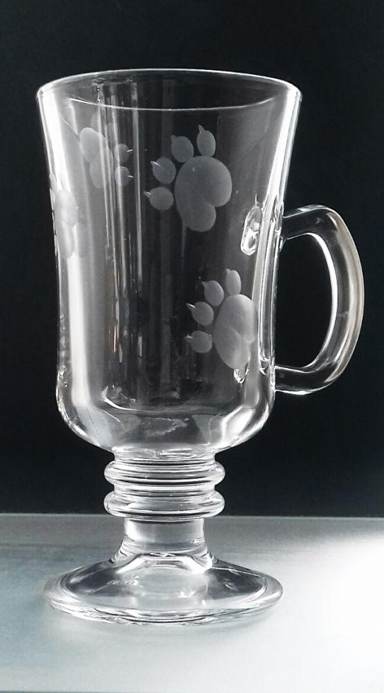 sklenice na kávu nebo latte 6ks venezia s rytinou psích tlapek