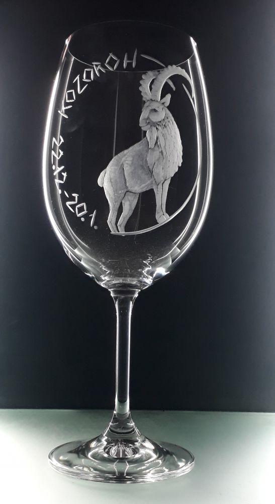 Dárková sklenice na víno. Znamení zvěrokruhu. Kozoroh 22.12.-20.1.