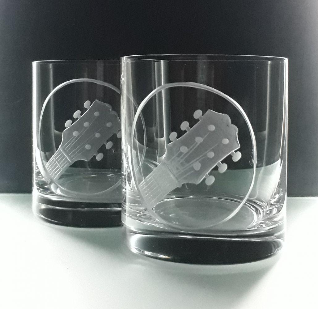 skleničky na whisky 2ks Barline 280ml,sklenice s rytinou španělské kytary