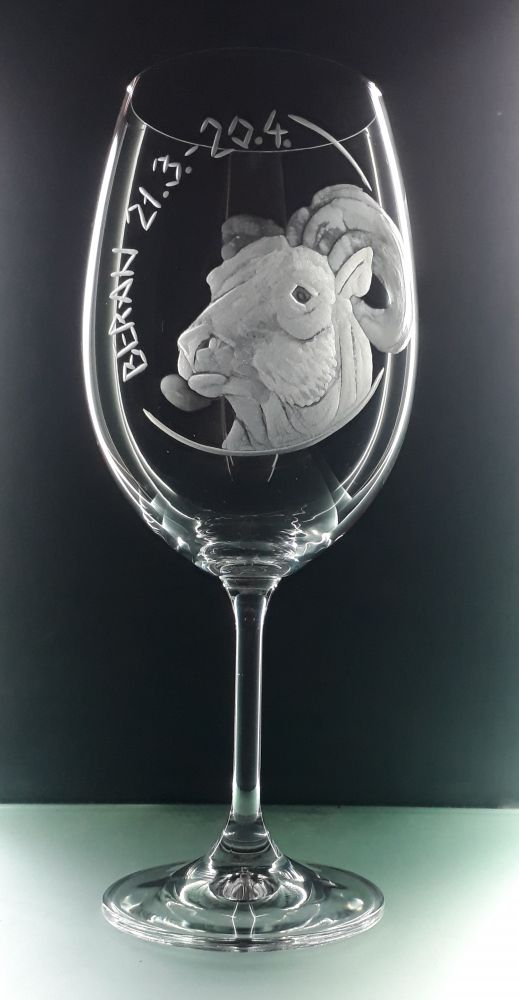 Dárková sklenice na víno. Znamení zvěrokruhu. Beran 21.3. - 20.4.