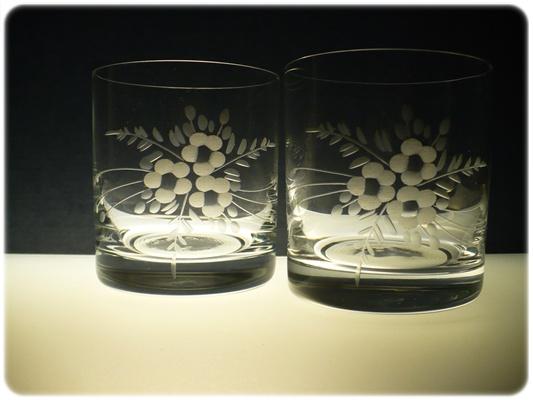 skleničky na whisky 6ks Barline 280ml,sklenice s rytinou květů, dárek k narozeninám