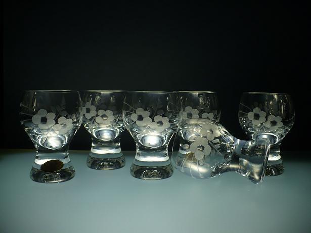 skleničky na likér nebo slivovici 6ks Gina 60 ml,sklenice s rytinou květů, dárek k narozeninám