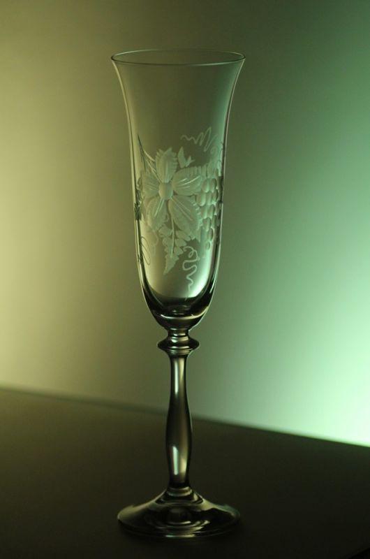 skleničky na sekt 2ks Angela 190ml,sklenice s rytinou vinného hroznu, dárek k narozeninám