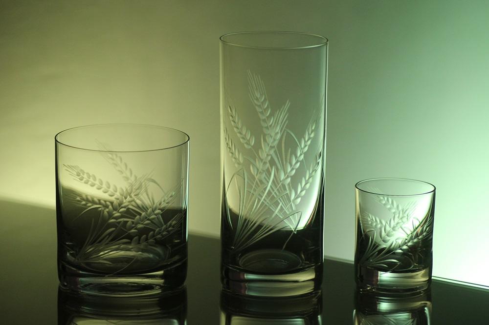 kompletní řada, sklenice Barline na pivo,whisky,likér s rytinou klasů,luxusní dárek
