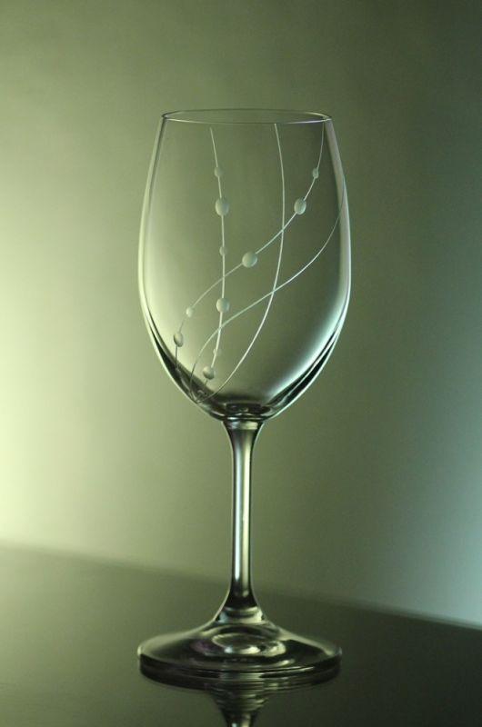 skleničky na víno 2ks Lara 250ml,sklenice ručně ryté (broušené) motiv korale, dárkové balení