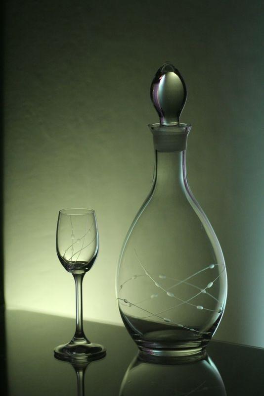 lahev 1l + skleničky 6ks Lara 65ml s rytinou korale, možnost jména na přání