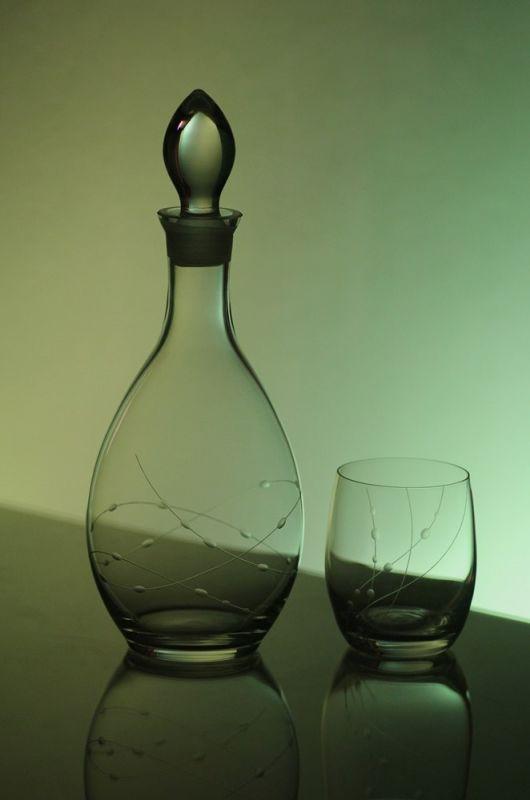 lahev na víno 1l + skleničky na víno 6ks Club 300ml, ručně ryté (broušené), motiv korálků