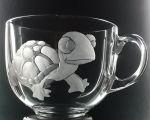 hrnek skleněný na čaj 550ml s rytinou želvičky, možnost jména na přání